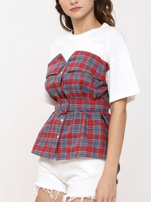 Two Tones Checkered Top With Belt