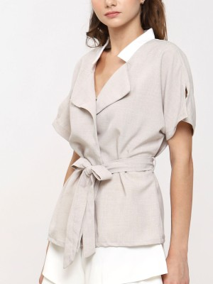 Short Long Sleeve Collar Top With Tie