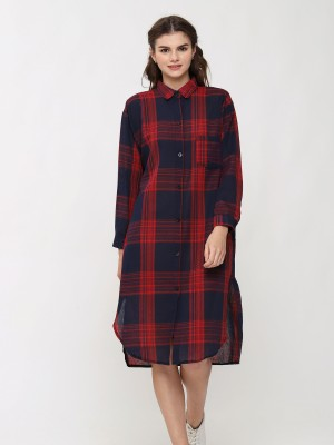 Long Sleeve Checkered Shirt Dress