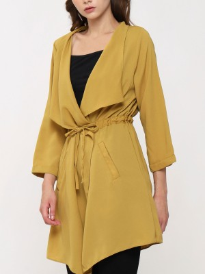 Drawstring Long Sleeve Frill Neck Cardigan