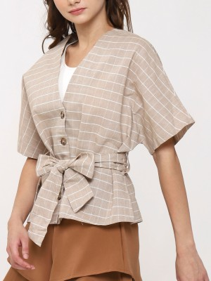 Short Sleeve Button up Boxy Top with Belt