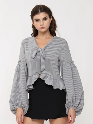 Neck Tie Bottom Ruffle long Sleeve Stripe Top