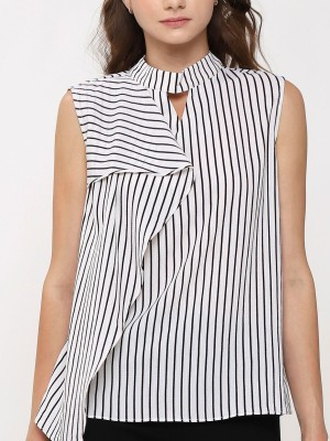 Frill sleeveless Stripes Top
