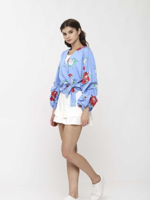 Runched Sleeves Floral Wrap Top