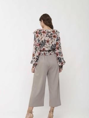 Long Sleeves Floral Sheer Crop Top