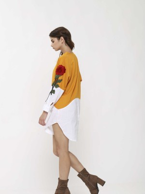 Two Tones Long Sleeves Flower Embroidery Dress