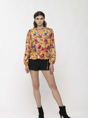 Flower Waist Tie Long Sleeves Top