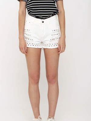 Studded Unfinished Denim Shorts