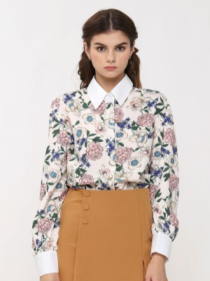 White Collar Long Sleeves Floral Shirt