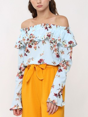 Long Sleeves Floral Off Shoulder Top