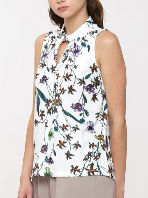 Flower Printed Sleeveless High Neck Top