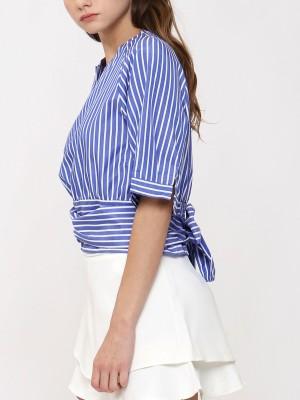 Wrap back Tie stripes Top