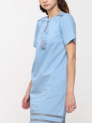 Fringe Rope Tie Chambray Dress