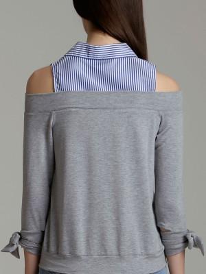 Stripes Drop Shoulder Shirt Collar Long Sleeves Top