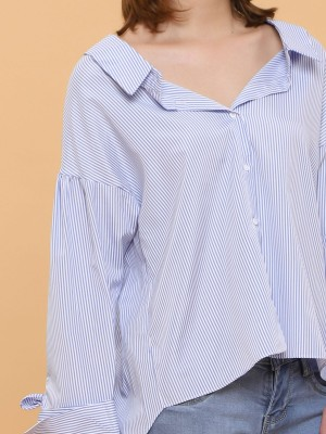 Tied Sleeves Stripes Shirt