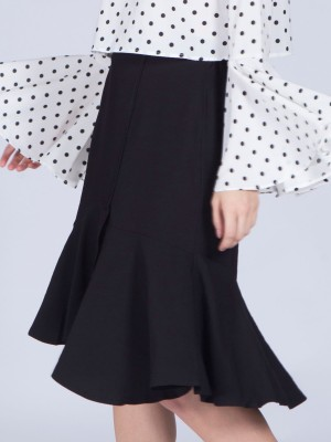 Flare Ruffle Midi Skirt