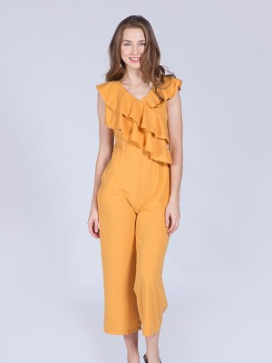 Front Ruffle Sleeveless Jumpsuit