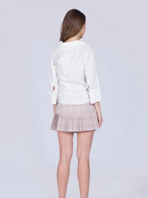 Pleated Checkered Buttons mini Skort