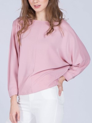 Boat Neck Pleats 3/4 Sleeves Top