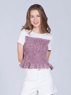 Short Sleeveless Elastic Gingham Tube Top