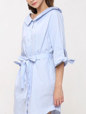 Wide Collar Neck waist Tie Shirt Dress