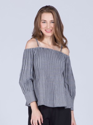 Off Shoulder Long Sleeveeles Gingham Top