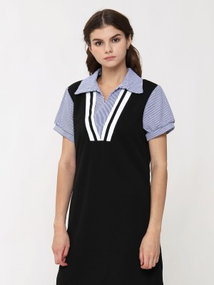 Double V Neck Stripes Dress