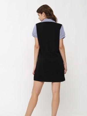 Double V Neck Stripes Dress