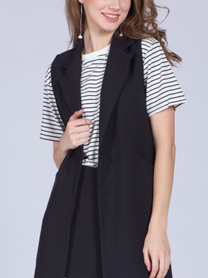 Asymetric Pocket Long Vest