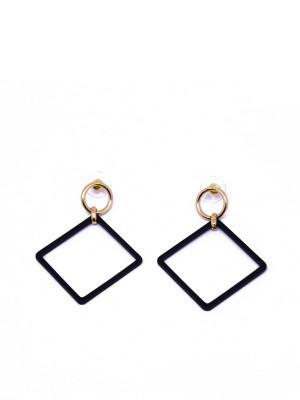 Square Drop Black Earings