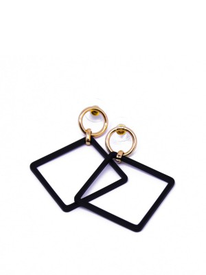 Square Drop Black Earings