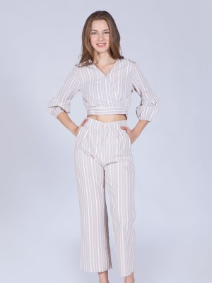 2 Pieces Set Stripes Long Pants Crop Top