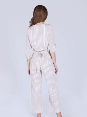 2 Pieces Set Stripes Long Pants Crop Top