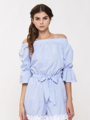 Off Shoulder Waist Tie Stipes Playsuit