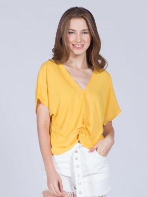 Cap Sleeves Front Twist Crop Top