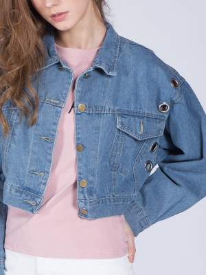Cropped Ring Denim Jacket