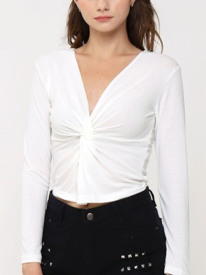 Long Sleeves Front Twist Top