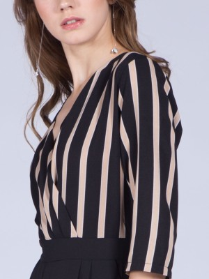 Wraped-Stripes Two Tones Jumpsuit