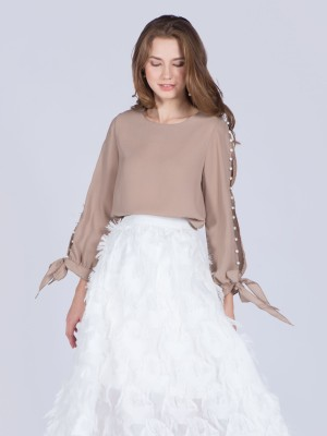 Pearls Buttons Long Sleeves Top