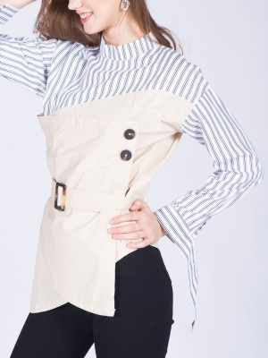 Doubled Stripes Waist-Tie High Neck Top