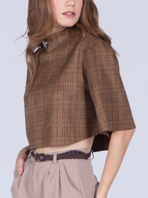 Checkered Poncho Top