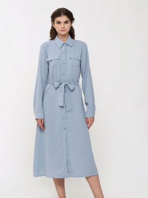 Double Flap Pockets Long Sleeves Shirt Maxi Dress