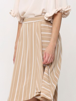 Stripes  Asymetric Wrap Skirt