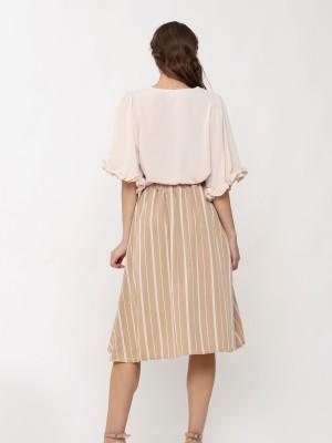 Stripes  Asymetric Wrap Skirt