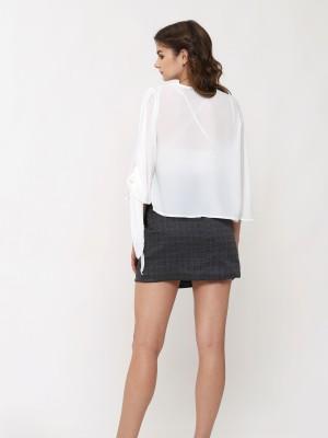 Checkered Buttons Mini Skirt
