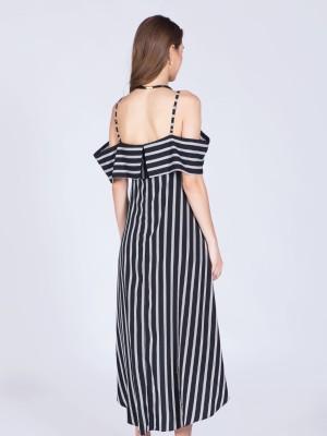 Stripes Drop Shoulder Tail Playsuit