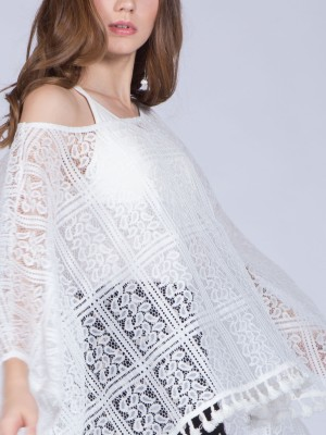 Brocade Fringe Cape Top