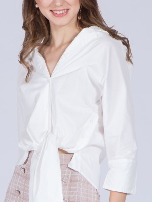 V Collar Bottom Tie Shirt