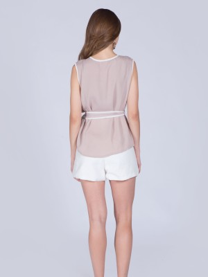 White Lining Sleeveless Waist-Tie Top