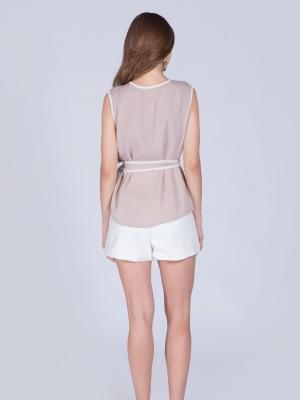 White Lining Sleeveless Waist-Tie Top